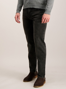 Black Wash Straight Leg Denim Stretch Jeans