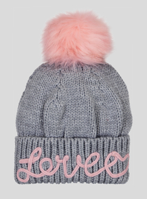 Grey Love Pom-Pom Beanie Hat (3 - 13 years)