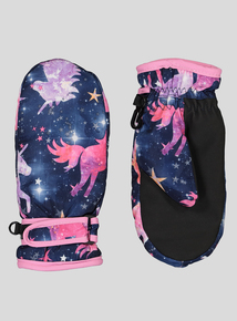 Multicoloured Unicorn Print Snow Gloves (1-6 Years)