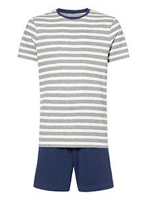 Oatmeal Striped T-Shirt and Shorts Pyjama Set