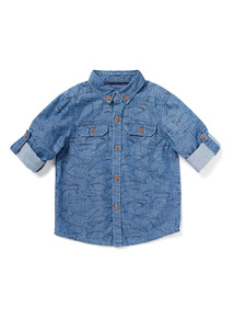 Blue Denim Shark Printed Shirt (9 months-6 years)