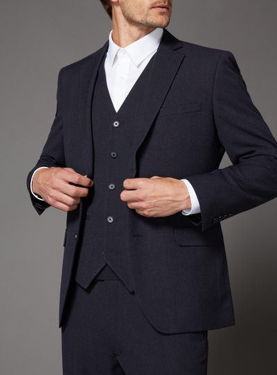Navy Textured Suit Jacket
