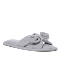 Grey Bow Front Jersey Slippers