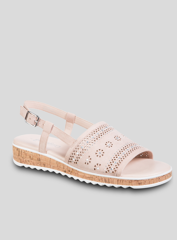df7c7e43c1b Womens Sole Comfort Nude Laser Cut Wedge Sandals