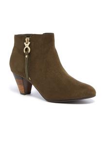 Khaki Block Heel Boots