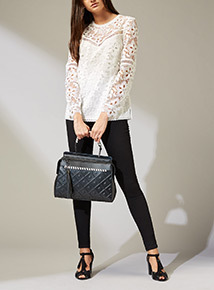 Premium Black Embossed Handbag