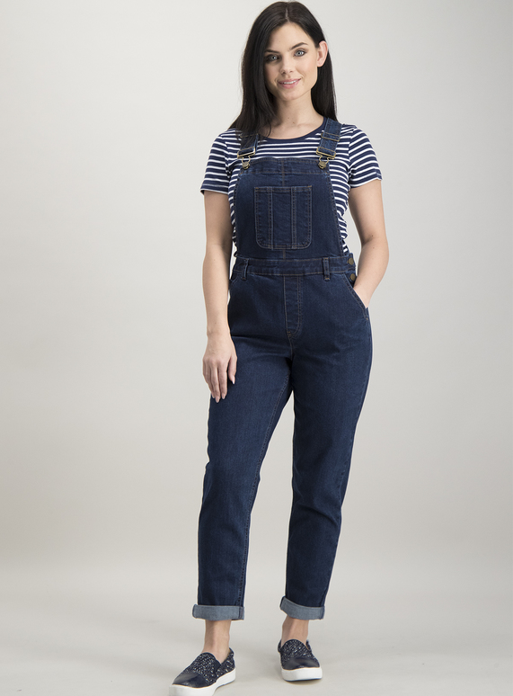 6e3f916f158 Womens Online Exclusive PETITE Dark Blue Denim Dungarees | Tu clothing
