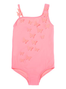 Girls Pink Butterfly Applique Swimsuit (3 - 12 years)