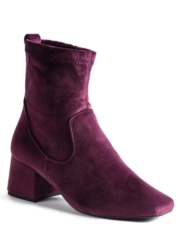 Purple Block Heel Ankle Boots
