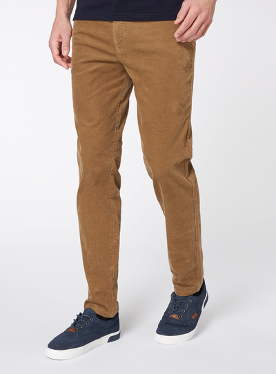 Stone Slim Fit Cords With Stretch