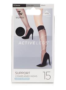 2 Pack Light Support 15 Denier Knee High Socks