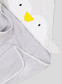 Grey Penguin Hooded Towel