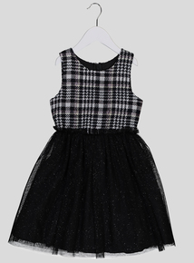 Black Check & Sparkle Dress (3-14 years)
