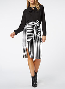 Mono Striped Side Split Pencil Skirt