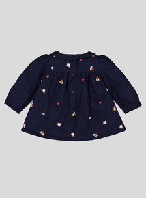 Navy Blue Floral Top (0-24 Months)