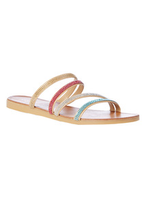 'Made In Italy' Glitter Multi Strap Sandals