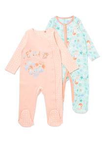 2 Pack Multicoloured Sea Friends Sleepsuit (Newborn-24 months)