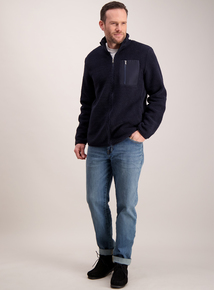 Navy Blue Zip Through Borg Jacket