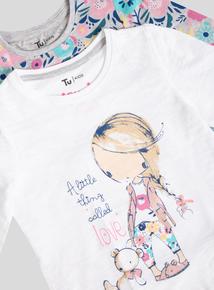 Multicoloured Girl And Floral Print Long Sleeve Pyjamas (1- 6 Years)