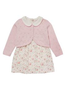 Pink Floral Dress & Cardigan Set (0-24 Months)