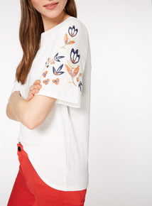 Floral Embroidered Sleeve T-Shirt