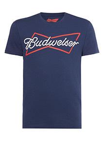 Navy 'Budweiser' Print T-Shirt