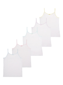 Girls White Cami Vest 5 Pack (18 month - 12 years)