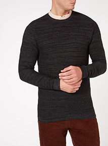 Grey Cotton textured Knit Jumper