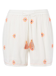 White Crinkle Floral Embroidered Shorts