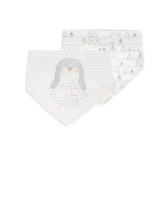 2 Pack Grey Penguin Bibs
