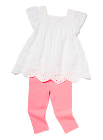 2 Piece Multicoloured Woven Top and Legging Set  (0-24 months)