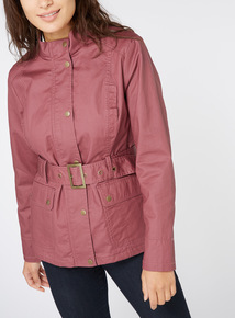 Online Exclusive Pink Waxed Utility Jacket