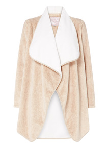 Beige Two Tone Waterfall Robe