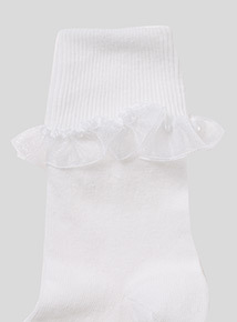 White Turnover Top Socks 5 Pack (3 infant-6.5 adult)