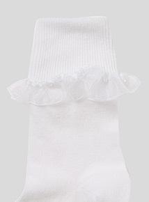 White Turnover Top Socks 5 Pack