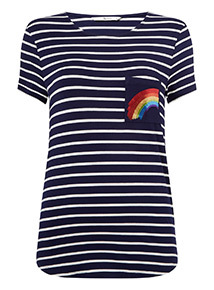 Stripe Rainbow Pocket T-Shirt
