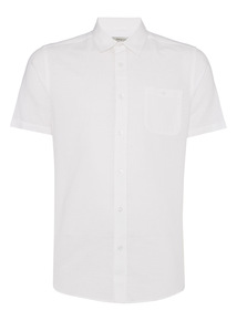 White Linen Blend Shirt