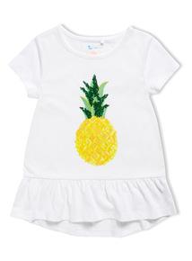 White Sequin Pineapple T-Shirt (3-14 years)