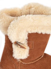 Tan Suede Borg Boots