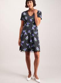 Multicoloured Floral Lace Trim Tea Dress