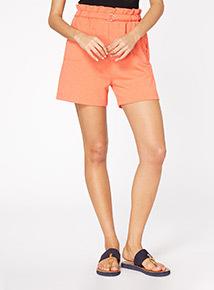 Coral Paperbag Waist Shorts