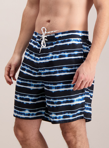 Navy Tie Dye Print Board Swim Shorts