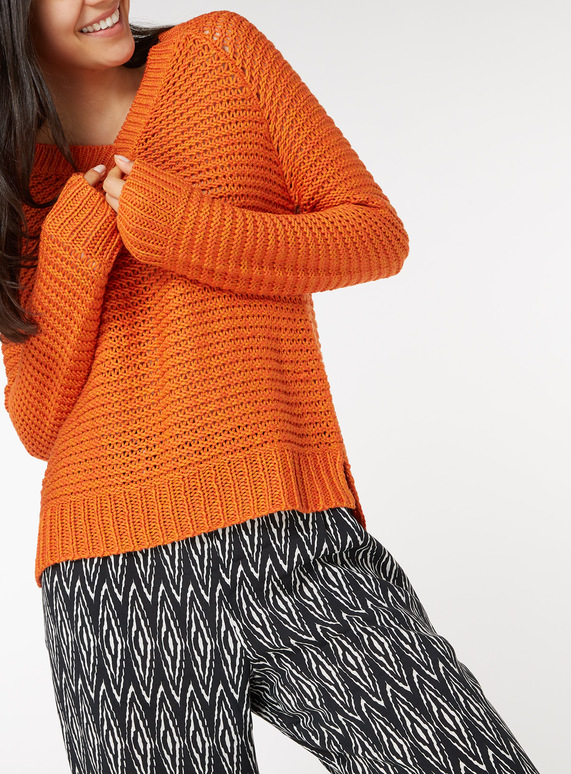 Orange V-Neck Jumper