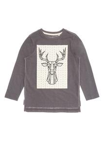 Black Deer Print Top (3-14 years)