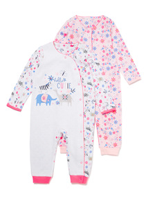 2 Pack Multicoloured Printed Sleepsuits (Newborn-24 months)