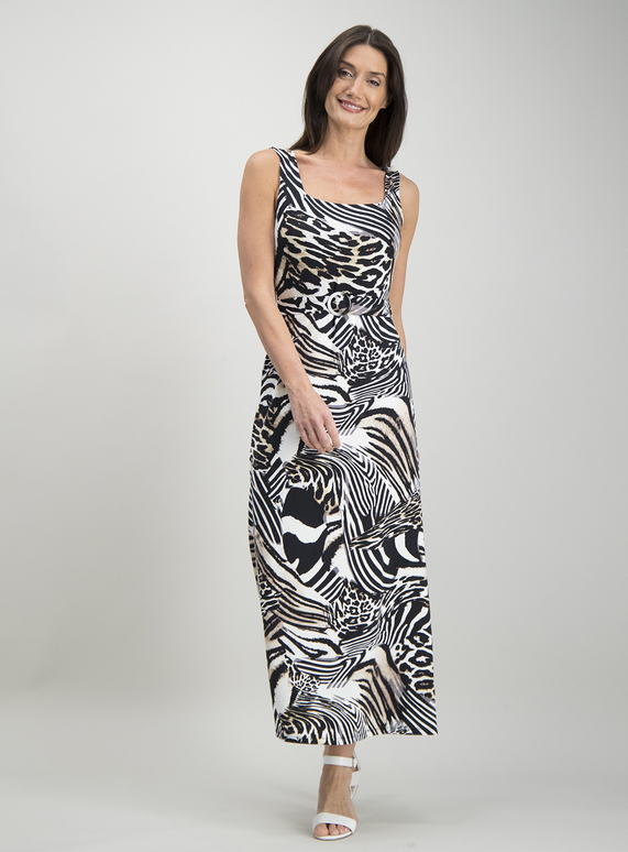 607bb042686 Womens Multicoloured Animal Print Maxi Dress