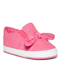 Pink Broderie Bow Pump Shoes (0-24 months)