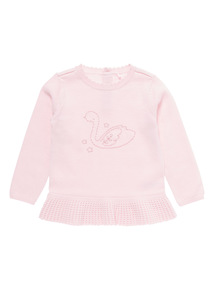 Pink Frill Knitted Swan Jumper (0-12 months)