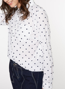White Embroidered Dot Shirt
