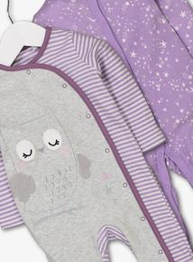 Grey & Purple Sleepsuits 2 Pack (Newborn -24 Months)